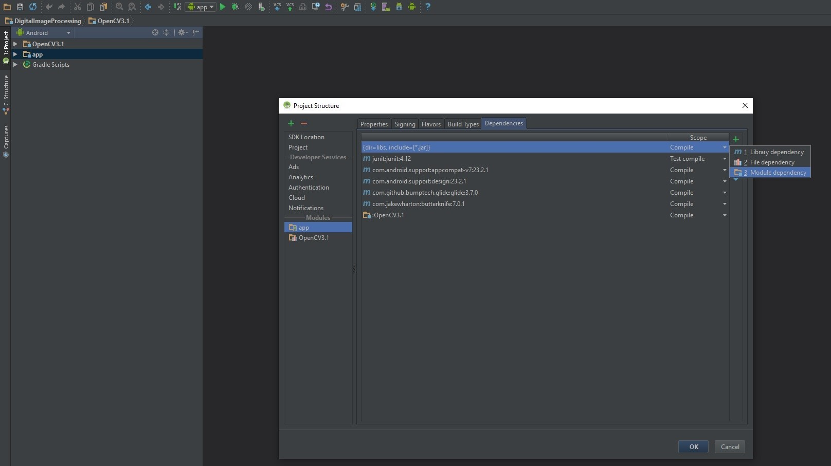 Check out: OpenCV in Android Studio project - Zaven | Blog